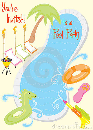 Free Summer Pool Party Invitation Stock Photos - 9924043