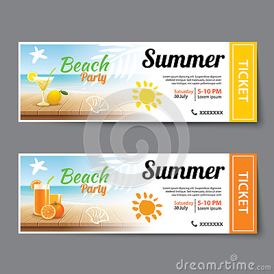 Summer Pool Party Ticket Template Stock Vector - Image: 74953506