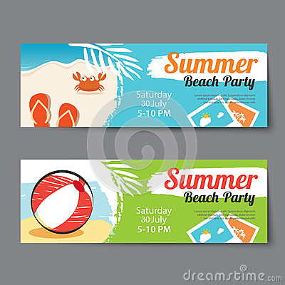 Summer Pool Party Ticket Template Stock Vector - Image: 74953503
