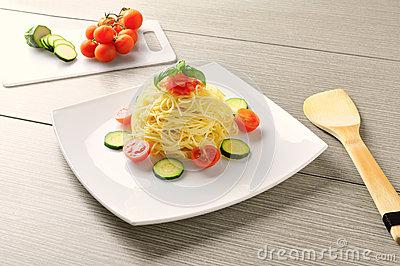 Summer recipe of spaghetti