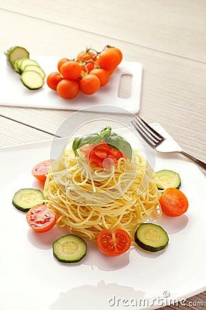 Summer recipe of spaghetti