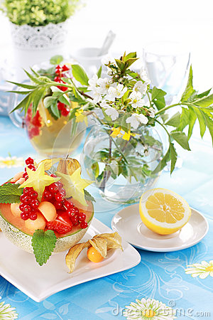Summer refreshment with dessert fruit