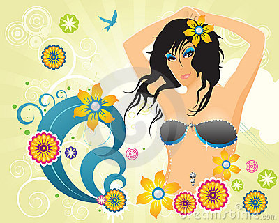Summer retro party girl with flowers