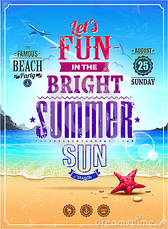 Free Summer Retro Poster Royalty Free Stock Photo - 31405105