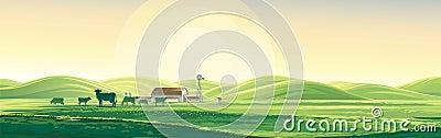 Summer rural landscape and farm. Vector Illustration