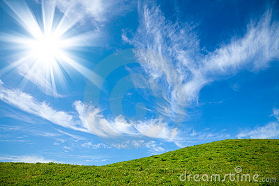 Summer rural landscape with sunny