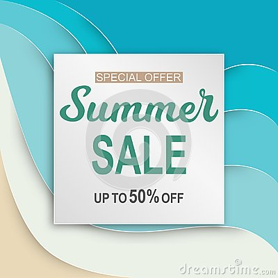 Summer sale banner with paper cut frame on blue sea Vector Illustration