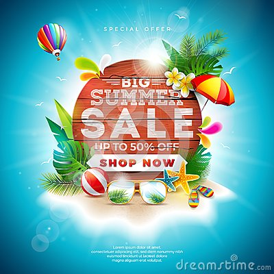 Free Summer Sale Design With Flower And Beach Holiday Elements On Blue Background. Tropical Floral Vector Illustration With Stock Image - 118778831