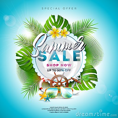 Free Summer Sale Design With Flower, Beach Holiday Elements And Exotic Leaves On Blue Background. Tropical Floral Vector Stock Image - 118778491