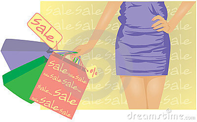 Summer sale , girl with shopping bags