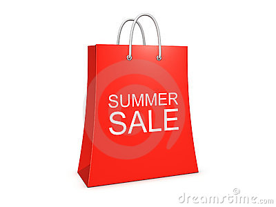 Summer sale shopping bag on the white background