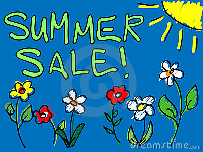 Summer sale with sun and flowers doodle