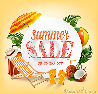 Free Summer Sale Template Vector Banner With Colorful Beach Elements. Royalty Free Stock Photos - 95113128