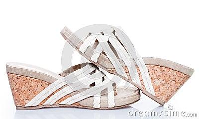 Summer sandals on cork base