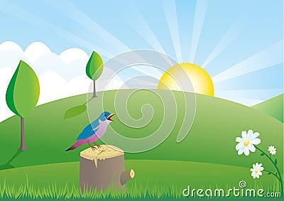 Summer scene with little bird