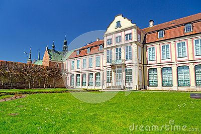 Summer scenery of Abbots Palace in Gdansk Oliwa