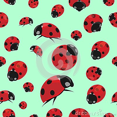 Summer seamless pattern with ladybirds