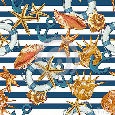 Free Summer Seamless Pattern With Sea Shells, Anchor Stock Image - 41963071