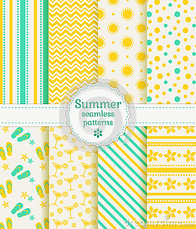 Free Summer Seamless Patterns. Vector Collection. Stock Photography - 40574452