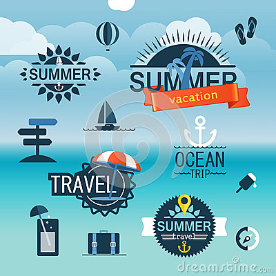 Free Summer Seaside Vacation Icons Royalty Free Stock Image - 43002276