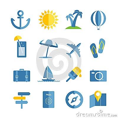 Free Summer Seaside Vacation Icons Stock Photo - 43002290