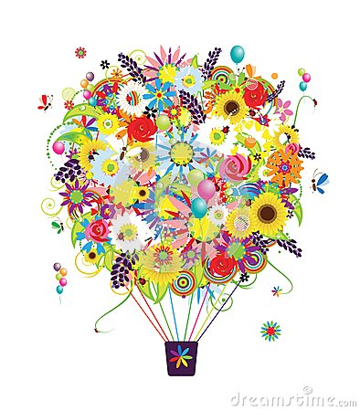 Summer season concept, air balloon with flowers