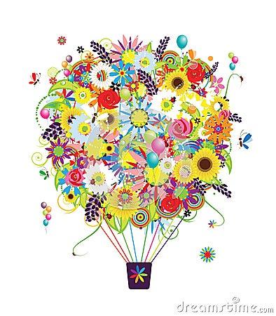Summer season concept, air balloon with flowers