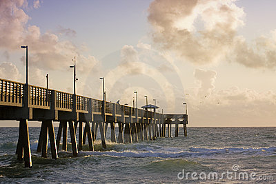 Summer serene scene with fishing pier