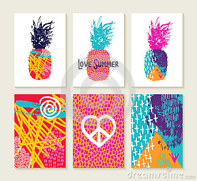 Free Summer Set Of Colorful Happy Design With Pineapple Stock Images - 72756254