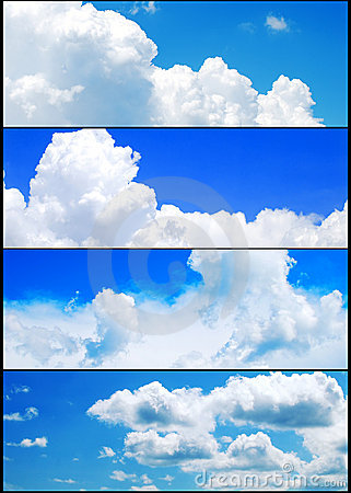 Summer sky and clouds banners set