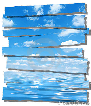 Summer sky and ocean image ripped paper