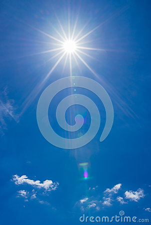 Free Summer Sky With Bright Shining Sun Stock Images - 95796564