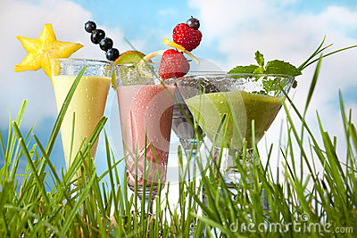 Summer smoothies in the garden