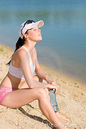 Summer sport fit woman enjoy sunset