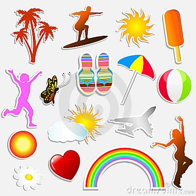 Free Summer Stickers Stock Photography - 9565152