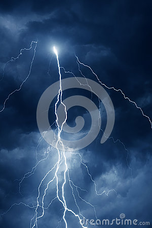 Free Summer Storm With Thunder, Lightnings And Rain At Night Stock Images - 92345754
