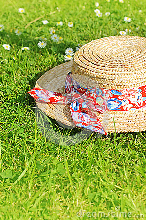 Free Summer Straw Hat On The Grass Royalty Free Stock Photos - 30043998