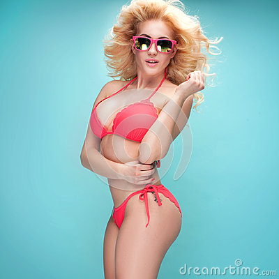 Free Summer Style Photo Of Young Blonde Girl In Bikini. Royalty Free Stock Image - 69004426