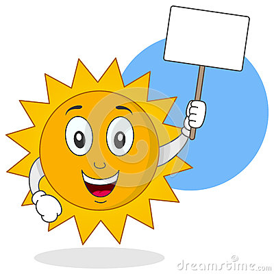 Summer Sun Character Holding Sign