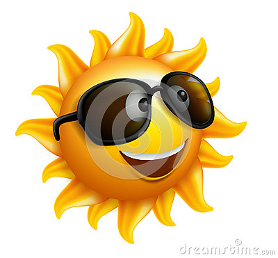Summer Sun Face with sunglasses and Happy Smile Vector Illustration