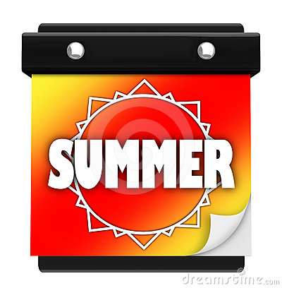 Summer Sun Page Wall Calendar Date New Season