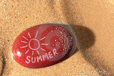 Summer sun on a pebble beach