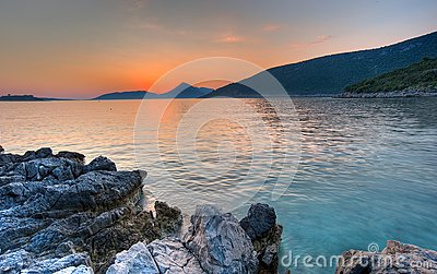Summer sunset landscape beach in Montenegro