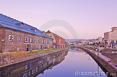 Summer Sunset, Otaru Canal, Hokkaido, Japan Editorial Photo