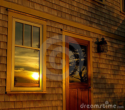 Summer sunset, reflected