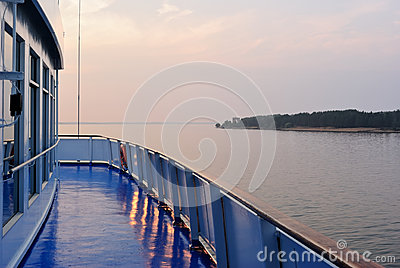 Summer sunset seen from a deck of a cruise liner