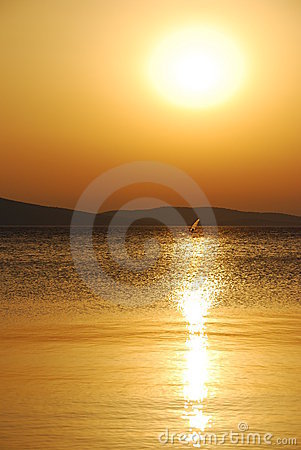 Summer sunset windsurfer