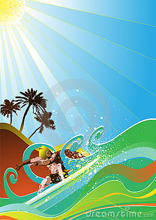 summer surfer vector