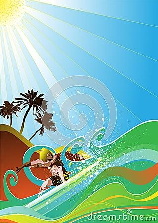 summer surfer vector