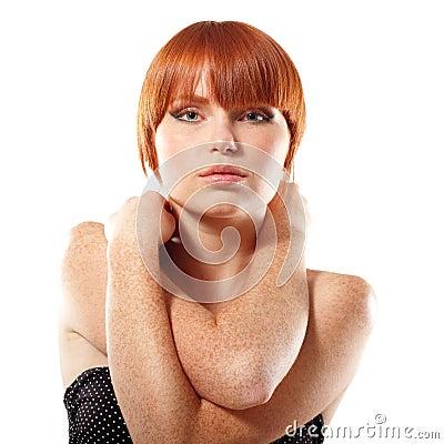 Summer teen girl beautiful freckles redheaded